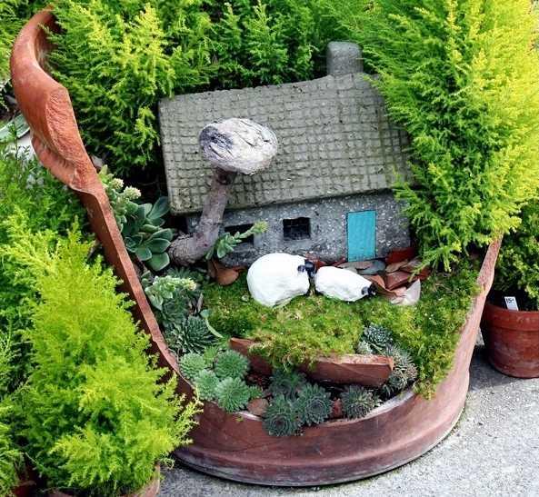 ... creare una decorazione da giardino con un vaso rotto  Guida Giardino